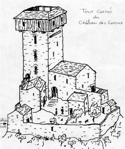 Le castrum au 14e siècle : reconstitution faite par Gilles Bellan, archéologue