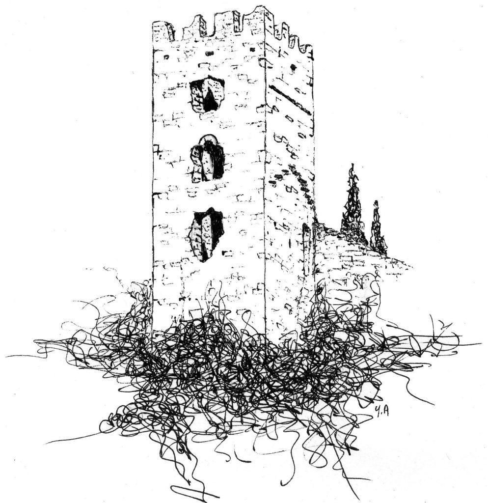 Dessin de la Tour Carrée de Colombières-sur-Orb par Yves Alleaume