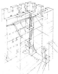 Tour Carrée - Escalier intérieur, croquis - par V.Chapal, Architecte DPLG