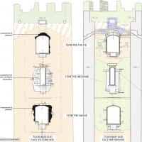 Tour Carrée - Mur Sud : intérieur et extérieur - par V.Chapal, Architecte DPLG