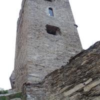 Tour Carrée de Colombières rénovée : le mur Sud en contre-plongée